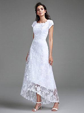 cheap Wedding Dresses-Sheath / Column Wedding Dresses Jewel Neck Asymmetrical All Over Lace Cap Sleeve Casual Little White Dress with Lace 2020