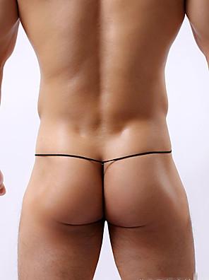 cheap Men's Exotic Underwear-Men's G-string Underwear Color Block Low Waist Black White Yellow M L XL