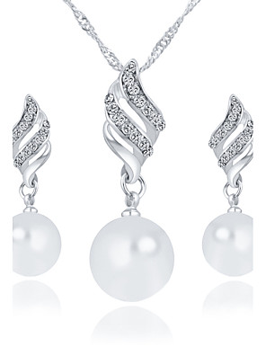 cheap Prom Dresses-Women's Pendant Necklace Necklace / Earrings Bridal Jewelry Sets Fashion Imitation Pearl Rhinestone Earrings Jewelry Gold / Silver For Wedding Party Daily Casual