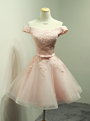 cheap Cocktail Dresses-Ball Gown Off Shoulder Short / Mini Organza / Lace Bodice Bridesmaid Dress with Appliques / Bow(s) / Sash / Ribbon
