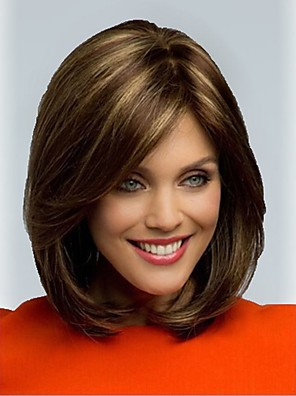 cheap Romantic Lace Dresses-Synthetic Wig Straight Straight Wig Short Synthetic Hair Women's Brown StrongBeauty