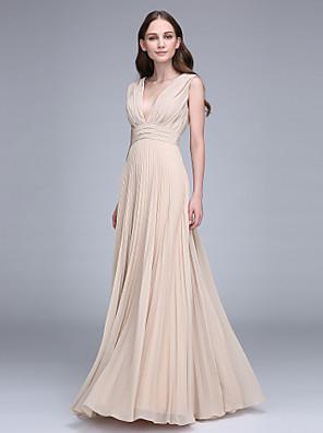 cheap Bridesmaid Dresses-Sheath / Column V Neck Floor Length Chiffon Bridesmaid Dress with Draping / Ruched