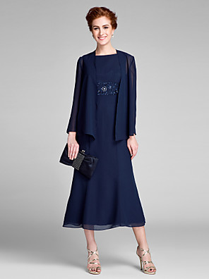 cheap Cocktail Dresses-Mermaid / Trumpet Mother of the Bride Dress Bateau Neck Tea Length Chiffon Long Sleeve with Beading 2020