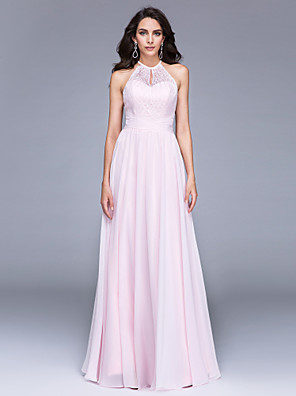 cheap Bridesmaid Dresses-A-Line Minimalist Keyhole Holiday Cocktail Party Prom Dress Illusion Neck Sleeveless Floor Length Chiffon Sheer Lace with Lace Ruched 2020 / Formal Evening