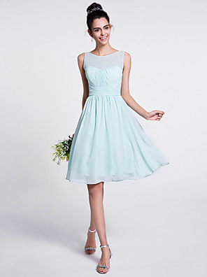 cheap Bridesmaid Dresses-A-Line Scoop Neck Knee Length Chiffon Bridesmaid Dress with Draping / Ruched