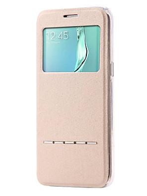 voordelige Samsung-accessoires-hoesje Voor Samsung Galaxy S7 edge / S7 / S6 edge plus met standaard / met venster / Flip Volledig hoesje Effen PU-nahka