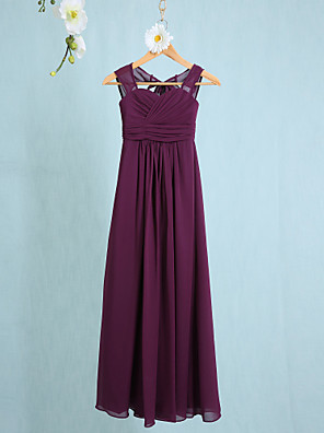 cheap Junior Bridesmaid Dresses-Sheath / Column Straps Ankle Length Chiffon Junior Bridesmaid Dress with Ruched / Natural