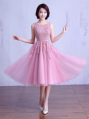 cheap Evening Dresses-Ball Gown Jewel Neck Tea Length Satin / Lace Over Tulle Bridesmaid Dress with Beading / Lace / Sash / Ribbon
