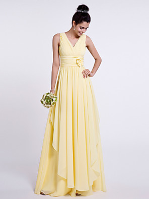 cheap Bridesmaid Dresses-Sheath / Column V Neck Floor Length Chiffon Bridesmaid Dress with Side Draping / Criss Cross / Flower
