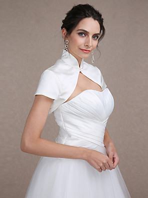 cheap Wedding Wraps-Short Sleeve Shrugs Satin Wedding / Party Evening Wedding  Wraps With