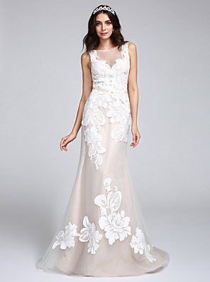 cheap Wedding Dresses-Mermaid / Trumpet Wedding Dresses Bateau Neck Sweep / Brush Train Tulle Floral Lace Regular Straps Romantic Boho Sexy See-Through Illusion Detail with Appliques Button 2020
