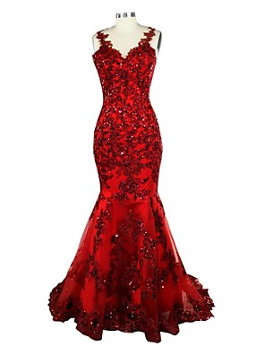 cheap Bridesmaid Dresses-Mermaid / Trumpet Formal Evening Dress V Neck Sleeveless Court Train Lace Over Satin with Sequin Appliques 2020