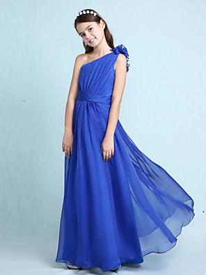 cheap Junior Bridesmaid Dresses-Princess / A-Line One Shoulder Floor Length Chiffon Junior Bridesmaid Dress with Sash / Ribbon / Ruffles / Side Draping / Spring / Fall / Winter / Wedding Party / Natural