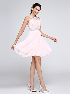 cheap Junior Bridesmaid Dresses-A-Line Hot Pink Graduation Cocktail Party Dress Illusion Neck Sleeveless Short / Mini Chiffon Corded Lace with Crystals 2020