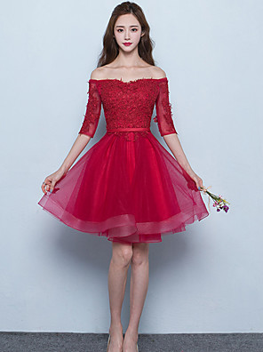 cheap Prom Dresses-A-Line Off Shoulder Short / Mini Tulle Bridesmaid Dress with Sash / Ribbon
