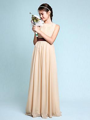 cheap Junior Bridesmaid Dresses-Sheath / Column Scoop Neck Floor Length Chiffon Junior Bridesmaid Dress with Draping / Natural
