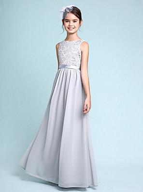 cheap Junior Bridesmaid Dresses-Sheath / Column Bateau Neck Floor Length Chiffon / Lace Junior Bridesmaid Dress with Lace / Natural