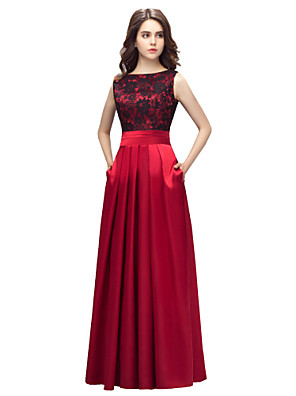 cheap Evening Dresses-A-Line Elegant Red Prom Formal Evening Dress Boat Neck Sleeveless Floor Length Charmeuse with Pleats Lace Insert 2020