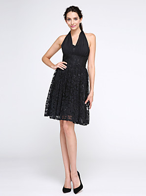cheap Cocktail Dresses-Back To School A-Line Fit & Flare Little Black Dress Cute Holiday Homecoming Cocktail Party Dress Halter Neck Sleeveless Knee Length Chiffon Lace with Lace 2020 / Prom Hoco Dress