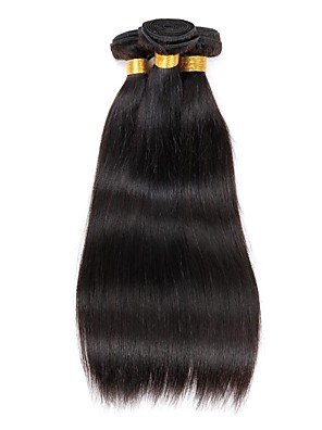 cheap Romantic Lace Dresses-3 Bundles Brazilian Hair Straight Virgin Human Hair 150 g Natural Color Hair Weaves / Hair Bulk Human Hair Weaves 8a Human Hair Extensions