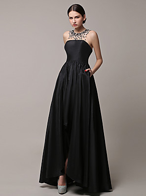cheap Special Occasion Dresses-A-Line Formal Evening Dress Jewel Neck Asymmetrical Satin with Beading 2020