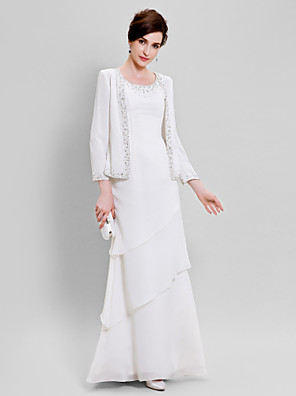 cheap Mother of the Bride Dresses-Sheath / Column Mother of the Bride Dress Wrap Included Scoop Neck Floor Length Chiffon Long Sleeve with Beading 2020 Mother of the groom dresses