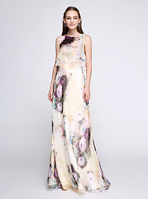cheap Cocktail Dresses-Sheath / Column Floral White Holiday Wedding Guest Dress Jewel Neck Sleeveless Floor Length Chiffon with Ruffles Pattern / Print 2020