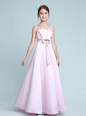 cheap Junior Bridesmaid Dresses-Princess / A-Line Spaghetti Strap Floor Length Stretch Satin Junior Bridesmaid Dress with Bow(s) / Beading / Empire / Spring / Summer / Fall / Winter