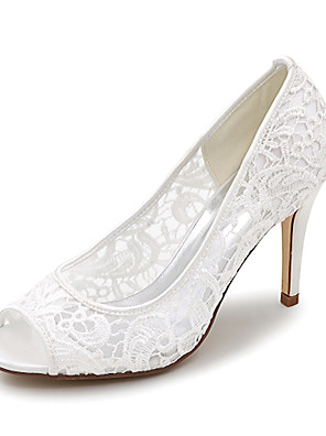 cheap Wedding Slips-Women's Wedding Shoes Mesh Stiletto Heel Peep Toe Satin Basic Pump Spring / Summer Pink / White / Ivory / Party & Evening / EU41
