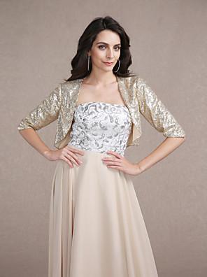 cheap Wedding Wraps-Coats / Jackets Sequined Wedding / Party Evening Wedding  Wraps / Bolero With Sequin