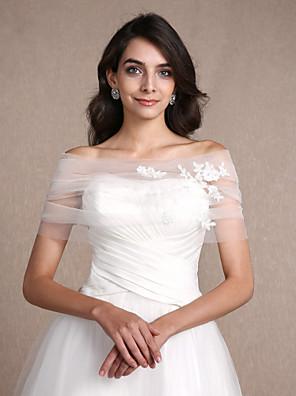 cheap Wedding Wraps-Sleeveless Shrugs Tulle Wedding / Party Evening Women's Wrap With Appliques