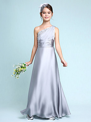 cheap Junior Bridesmaid Dresses-Sheath / Column One Shoulder Floor Length Chiffon Satin Junior Bridesmaid Dress with Side Draping / Ruched / Natural