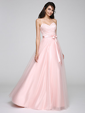 cheap Bridesmaid Dresses-A-Line Minimalist Open Back Pastel Colors Holiday Cocktail Party Prom Dress Spaghetti Strap Sleeveless Floor Length Tulle with Sash / Ribbon 2020 / Formal Evening