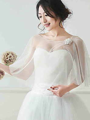 cheap Wedding Wraps-Sleeveless Shawls Tulle Wedding / Party Evening Women's Wrap With Flower