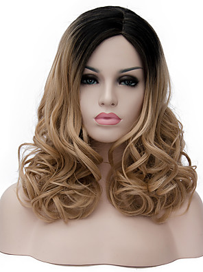 cheap Wedding Wraps-Synthetic Wig Curly Wig Medium Length Light Brown Synthetic Hair Women's Brown