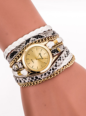 cheap Bracelet Watches-Women's Ladies Bracelet Watch Wrist Watch Wrap Bracelet Watch Quartz Wrap Quilted PU Leather Black / White / Blue Cool Analog Vintage Casual Bohemian Fashion - Red Blue Pink One Year Battery Life