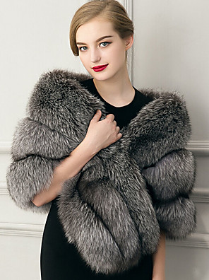 cheap Cocktail Dresses-Sleeveless Capelets Faux Fur Wedding / Party Evening / Casual Women's Wrap With Feathers / Fur