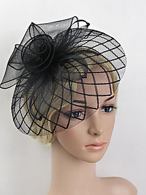 cheap Prom Dresses-Feather / Net Fascinators / Headwear with Floral 1pc Wedding / Special Occasion Headpiece