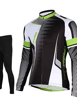 cheap Evening Dresses-TASDAN Men's Long Sleeve Cycling Jersey with Tights Black Bike Pants / Trousers Jersey Tights Breathable 3D Pad Quick Dry Reflective Strips Back Pocket Winter Sports Elastane Lines / Waves Mountain