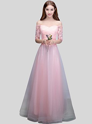 cheap Prom Dresses-Ball Gown Off Shoulder Floor Length Lace / Satin / Tulle Bridesmaid Dress with Sash / Ribbon