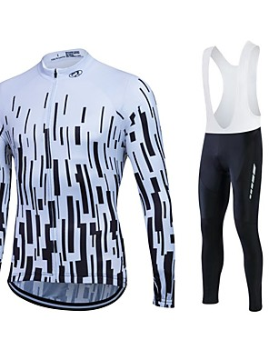 cheap Evening Dresses-Fastcute Men's Women's Long Sleeve Cycling Jersey with Bib Tights Black with White Bike Jersey Tights Bib Tights Breathable 3D Pad Quick Dry Sweat-wicking Sports Polyester Lycra Sports Road Bike