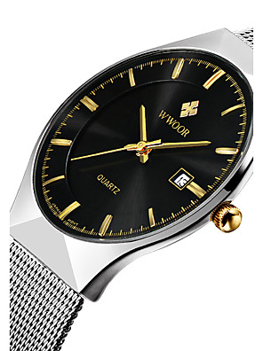 cheap Special Occasion Dresses-WWOOR Men's Wrist Watch Quartz Japanese Quartz Luxury Water Resistant / Waterproof Stainless Steel Silver Analog - White Black Blue Two Years Battery Life / Calendar / date / day / Noctilucent