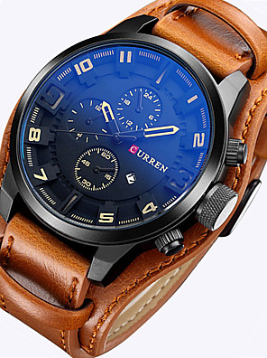 cheap Sport Watches-CURREN Men's Sport Watch Military Watch Wrist Watch Quartz Leather Black / Brown Calendar / date / day Day Date Analog Luxury Vintage Casual Fashion Astronomical - Brown Red White / Brown Two Years