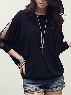 ieftine Bluze Damă-Pentru femei Sfârșit de săptămână Mărime Plus Size Bluză Mată Manșon Lung Larg Topuri Bumbac Alb Negru / Mâneci Lejere