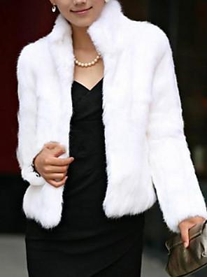 abordables Abrigos de pieles y de piel sintético de mujer-Mujer Invierno Corto Abrigo de Piel, Un Color Escote Chino Manga Larga Piel Sintética Estilo formal Negro / Blanco