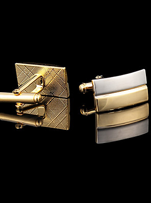 cheap Men's Accessories-Men's Cufflinks Gift Boxes & Bags Fashion Gold Plated Brooch Jewelry Golden For Wedding Party Daily Casual