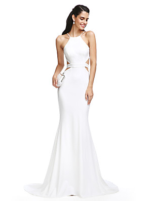 cheap Special Occasion Dresses-Mermaid / Trumpet Beautiful Back Prom Formal Evening Dress Spaghetti Strap Sleeveless Court Train Jersey with Sash / Ribbon 2020