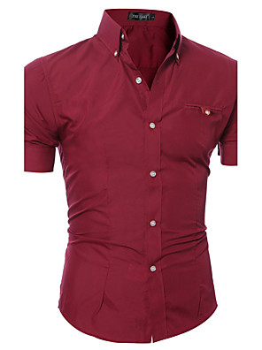 cheap Men's Shirts-Men's Solid Colored Basic Slim Shirt Daily Weekend Button Down Collar Wine / White / Black / Purple / Pink / Brown / Gray / Light Blue / Summer / Short Sleeve