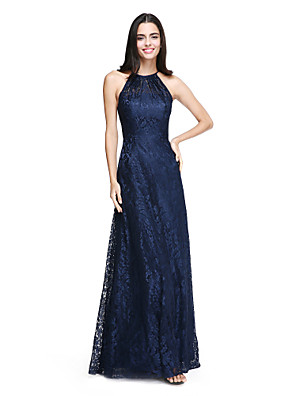 cheap Evening Dresses-A-Line Halter Neck Floor Length All Over Lace Bridesmaid Dress with Pleats