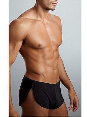 cheap Men's Exotic Underwear-Men's Ice Silk Super Sexy Boxers Underwear Solid Colored 1 Piece Black Gray S M L
